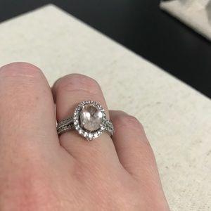 Morganite, Created White Sapphire Ring